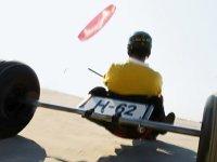 Kite buggy op het strand bij Port Zélande