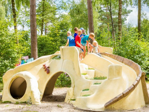 kinderen spelen in de speeltuin van camping haeghehorst