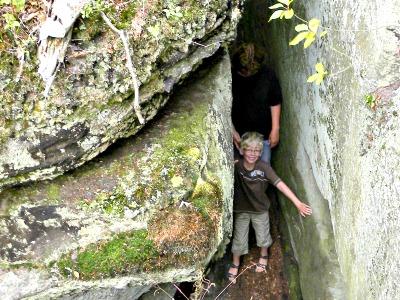 Klimmen tussen de rotsen in Klein Zwitserland