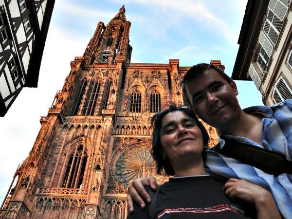 Voor de kathedraal van Straatsburg