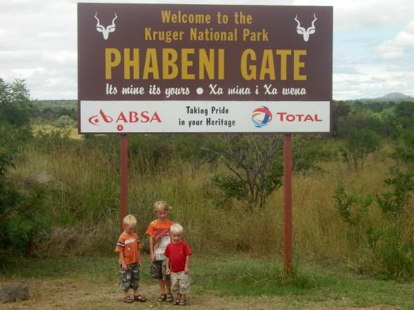 Welkomsbord bij de ingang van Kruger National Park
