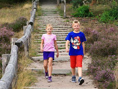 kids wandelen op de heide