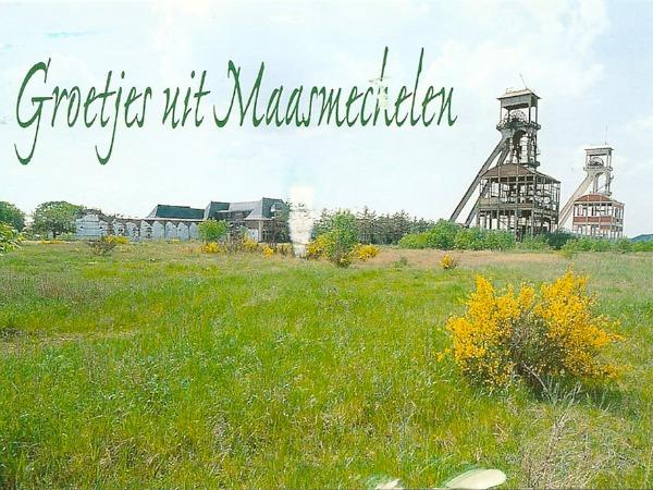 Ansichtkaart met de oude steenkolenmijn in de Hoge Kempen