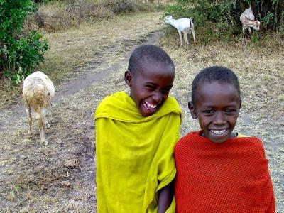 Ontmoeting met kleine geitenhoeders in Afrika