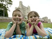 Bij een Engels kasteel