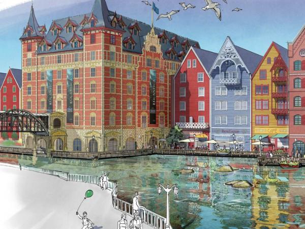 Tekening van het te bouwen Hotel Krønåsar