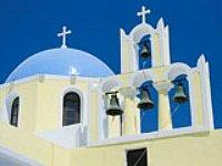 Kerkje in Santorini, Griekenland