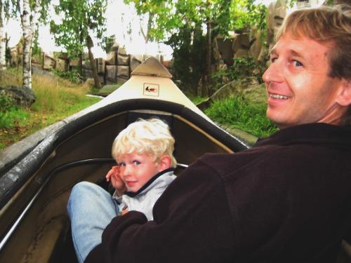 Patrick en Zeb in de kano bij Legoland