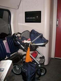 Met een kinderwagen in de trein