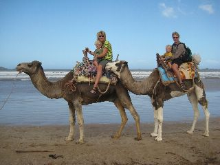 Kamelenrit op het strand van Essaouira