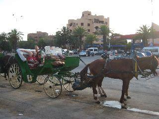 We nemen de paardenkoets in Marrakech