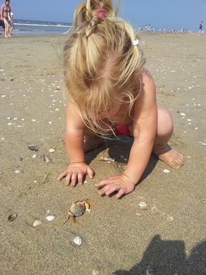 Op het strand banjeren