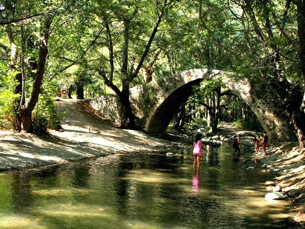 Spelen in een beekje in het bos bij Paphos