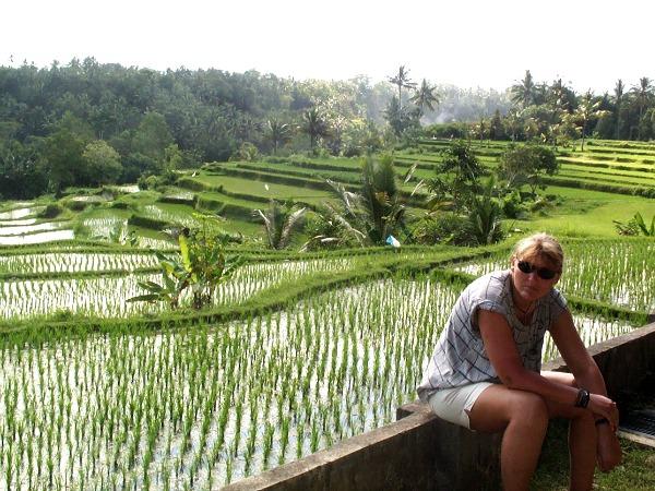 Even uitrusten bij onze tocht door de prachtige natuur van Bali