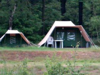 Ingerichte tent bij Safaricamp Beekse Bergen