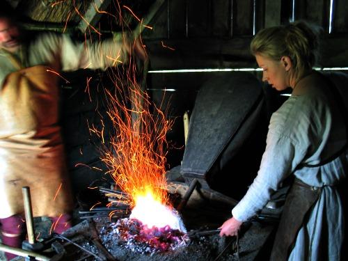 De smid in het Vikingcenter in Ribe