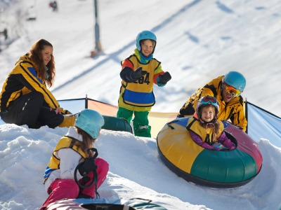 winter fun, in banden glijden