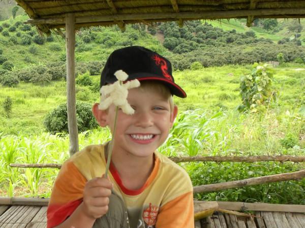 Een mannetje gemaakt van sticky rice, leuk en lekker
