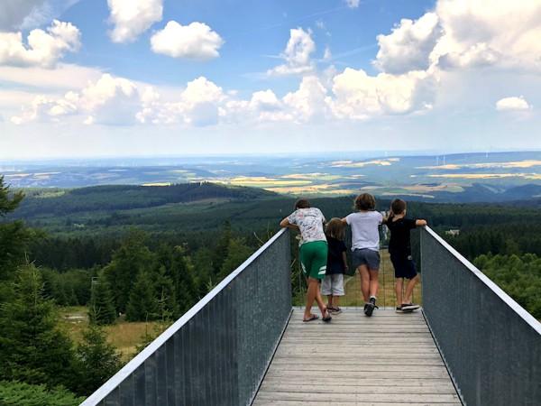 Een prachtig uitzicht over de Hunsrück vanaf de Eberskopf