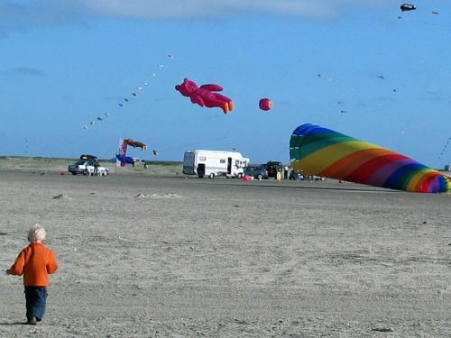 Vliegerfestival op het strand van Romo