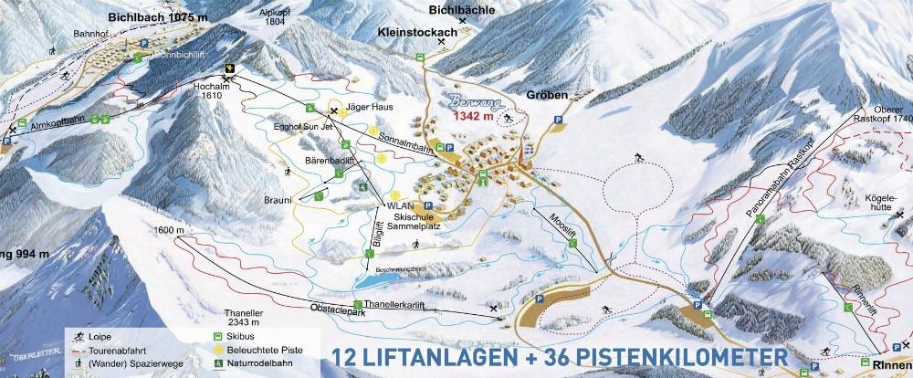 Het skigebied van Berwang