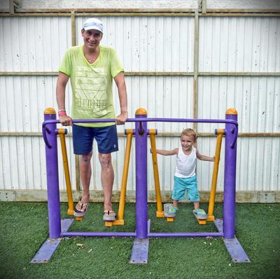 Yero en papa fitnessen